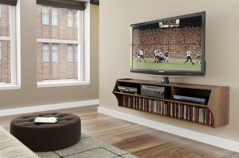 "Modern 58"" Espresso Floating TV Stand & Mount with Storage"