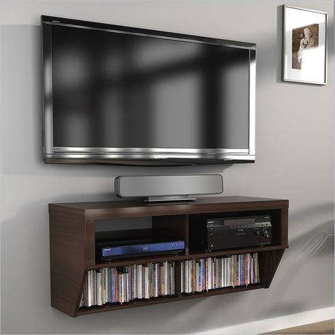 "42"" Espresso Wall Mounted Component / Media Stand"