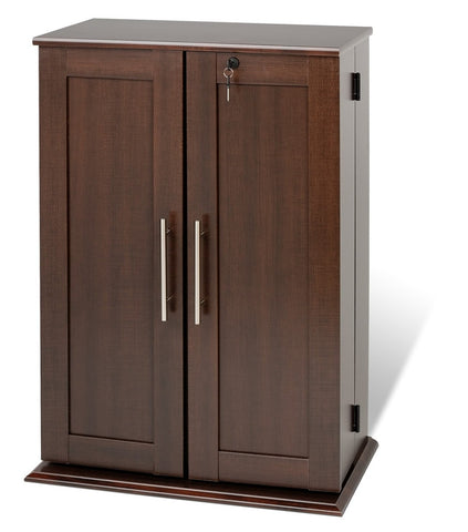 Espresso Locking Media Storage Cabinet