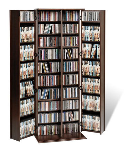 Espresso Extra Tall Locking Media Storage Cabinet