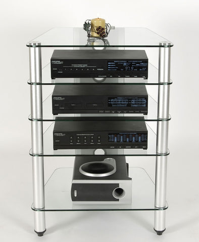 Premium Glass & Polished Aluminum 5 Shelf A/V Stand