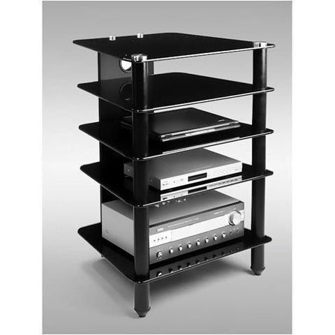 Premium Black Glass & Polished Aluminum 5 Shelf A/V Stand
