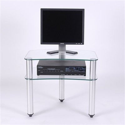 Compact Glass & Aluminum Stand for Flat Screens up to 24""