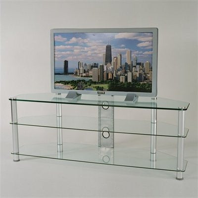 "60"" Clear Glass & Polished Aluminum Flat Screen Stand"