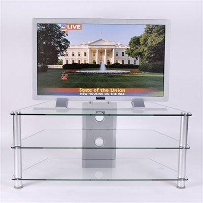 Clear Glass & Aluminum Corner Flat Screen Stand with Two Shelves