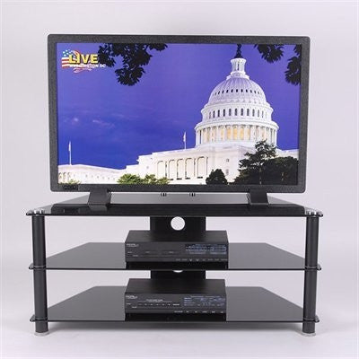 Black Glass & Aluminum Corner Flat Screen Stand with Two Shelves