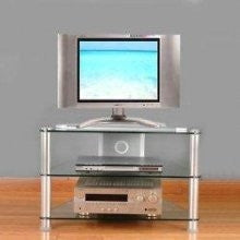 Premium Clear Glass & Polished Aluminum Corner Flat Screen Stand