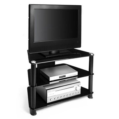 Premium Black Glass & Polished Aluminum Corner Flat Screen Stand