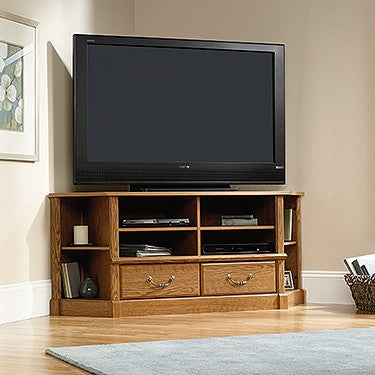"60"" Corner Flat Screen TV Stand in Carolina Oak"