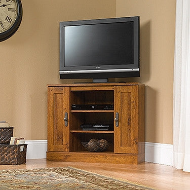 "Modern 35"" Corner TV Stand in Abbey Oak"