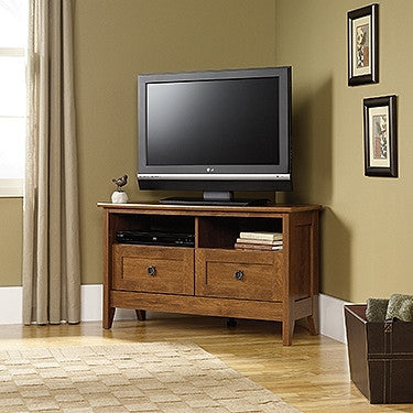 "39"" Modern Corner Flat Screen TV Stand in Oiled Oak Finish"