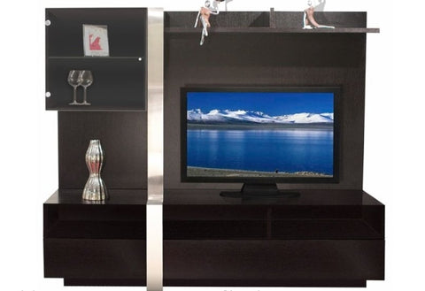 Nero Modern Wall Unit in Wood Veneer & Brushed Aluminum