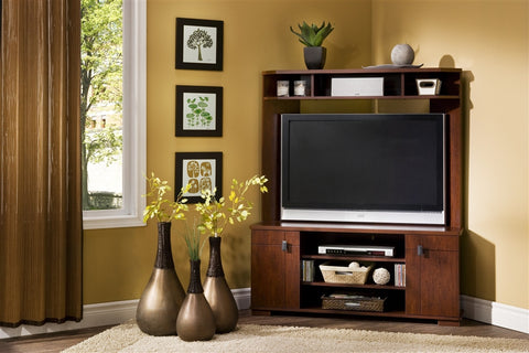 Vortex Corner Flat Screen Stand With Included Hutch In Cherry