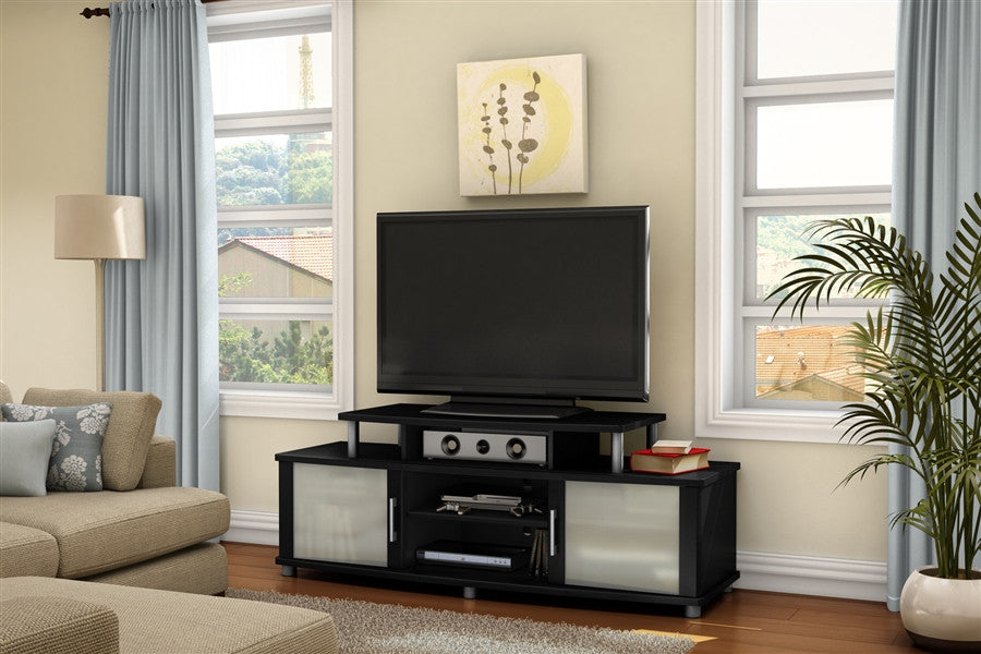 City Life Black Modern Flat Screen Stand with Frosted Glass Doors
