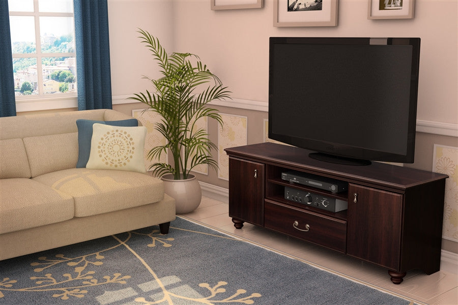 Noble Collection TV Stand in Dark Mahogany