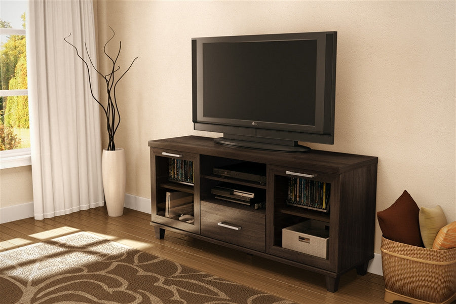 Adrian Collection Modern TV Stand in Dark Roast Coffee Finish