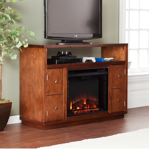 "48"" Dark Tobacco Modern TV Stand with Integrated Fireplace"