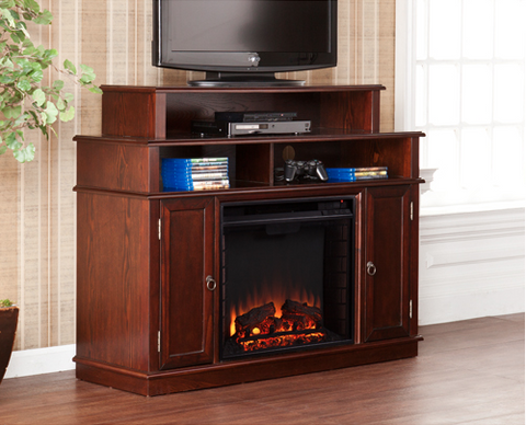 "Sleek 48"" Espresso TV Stand with Integrated Electric Fireplace"