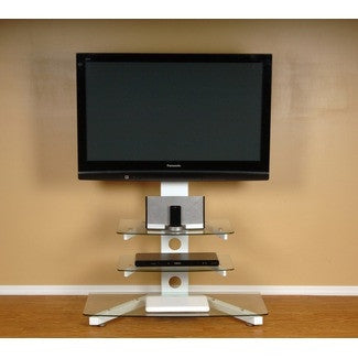Clear Glass & White Polished Aluminum Stand & Mount Combination