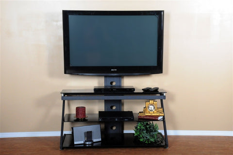 Modern Black Glass & Metal Flat Screen Stand with Included Mount