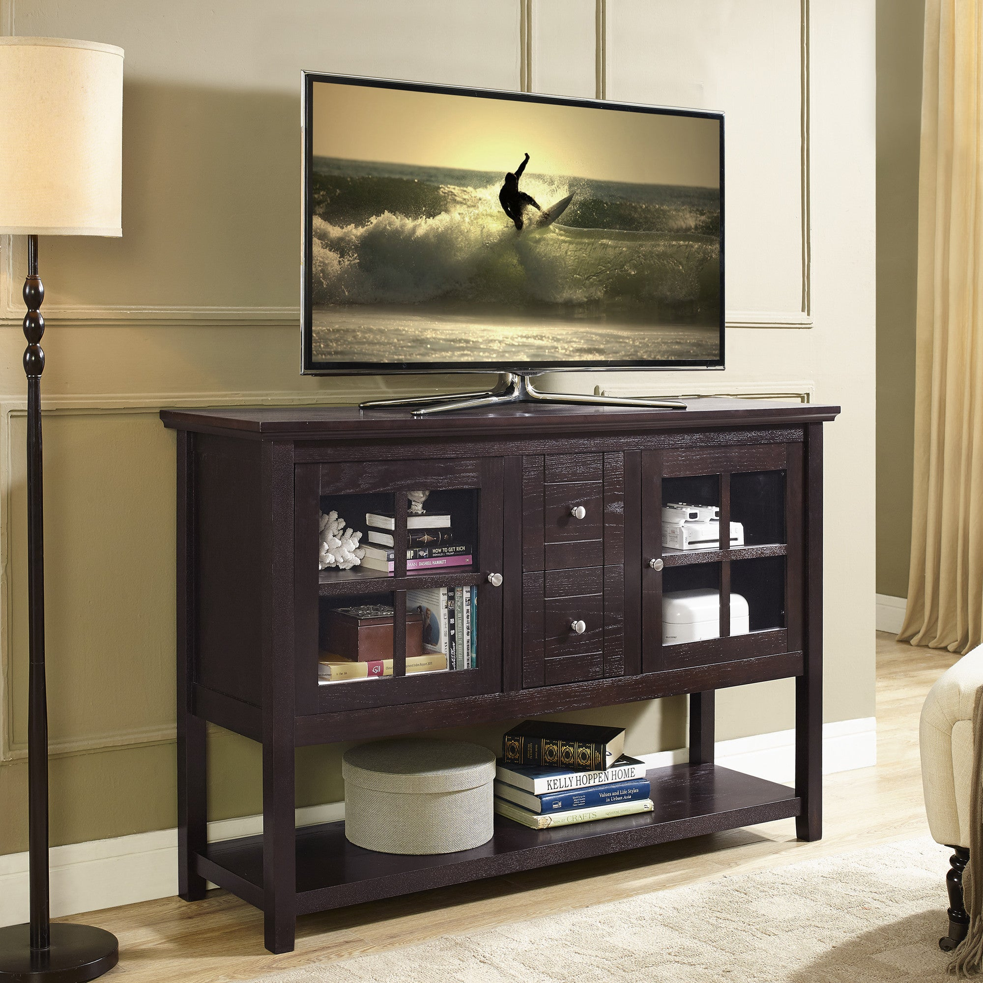 Bedroom height 53 modern espresso flat screen tv stand for Flat screen tv bedroom ideas