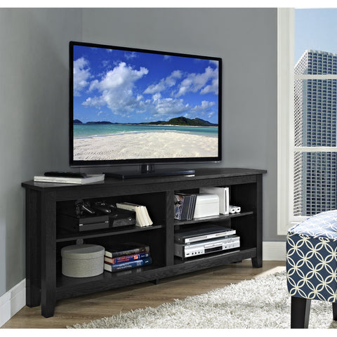 "58"" Black Open Concept Flat Screen Corner TV Stand"