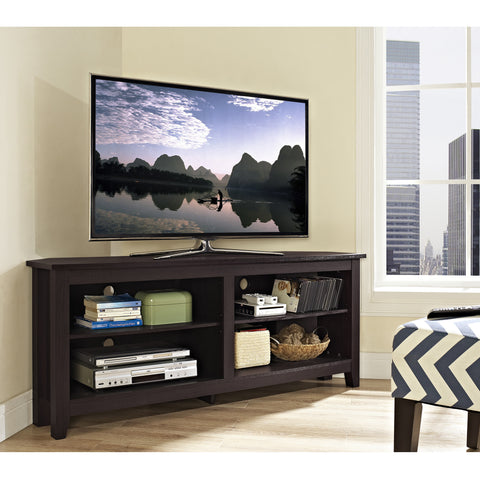 "58"" Espresso Open Concept Flat Screen Corner TV Stand"