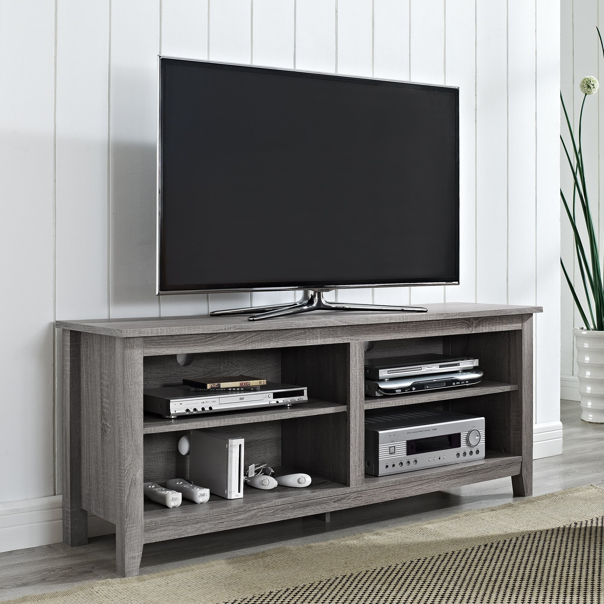 "58"" Modern Open Concept TV Stand in Driftwood Finish"