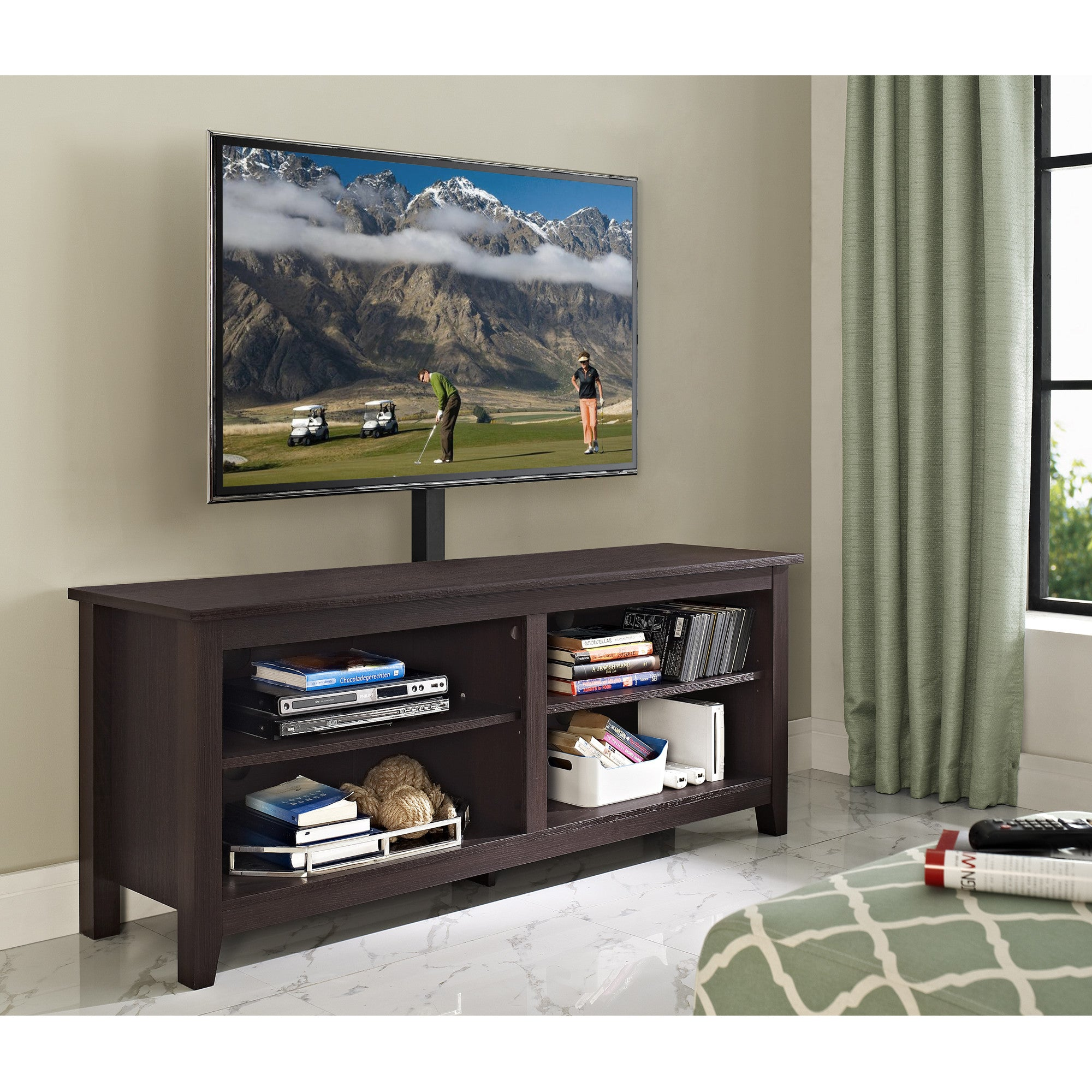 "Modern Espresso 58"" TV Stand with Integrated Mount"
