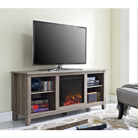 "Modern Driftwood 58"" TV Stand with Integrated Electric Fireplace"
