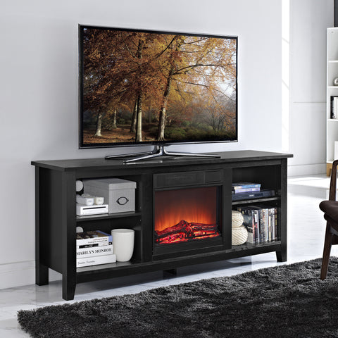 "Ultra Modern 58"" Black TV Stand with Integrated Electric Fireplace"
