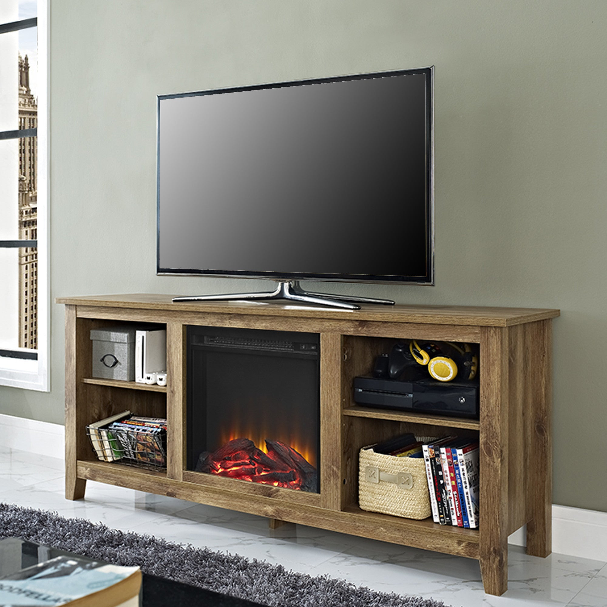This elegant open concept TV stand comes with an integrated electric fireplace to add to your cozy ambiance and to keep you warm while you watch TV.  The stand is made of high quality wood and finished in an elegant barnwood finish.  It is extremely sturd