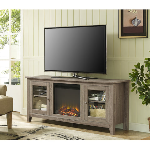 "58"" Modern TV Stand with Integrated Electric Fireplace in Driftwood Finish"
