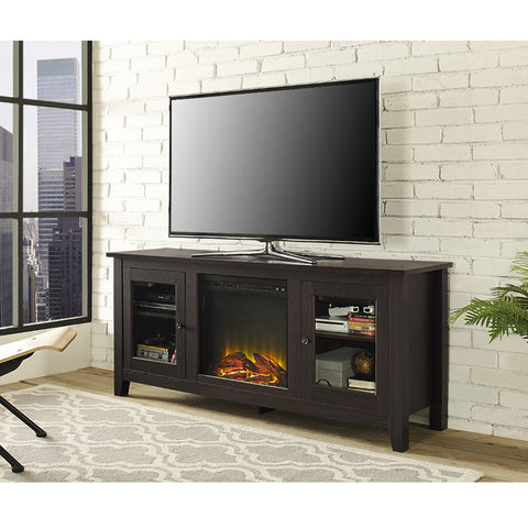 "58"" Modern TV Stand with Integrated Electric Fireplace in Espresso Finish"