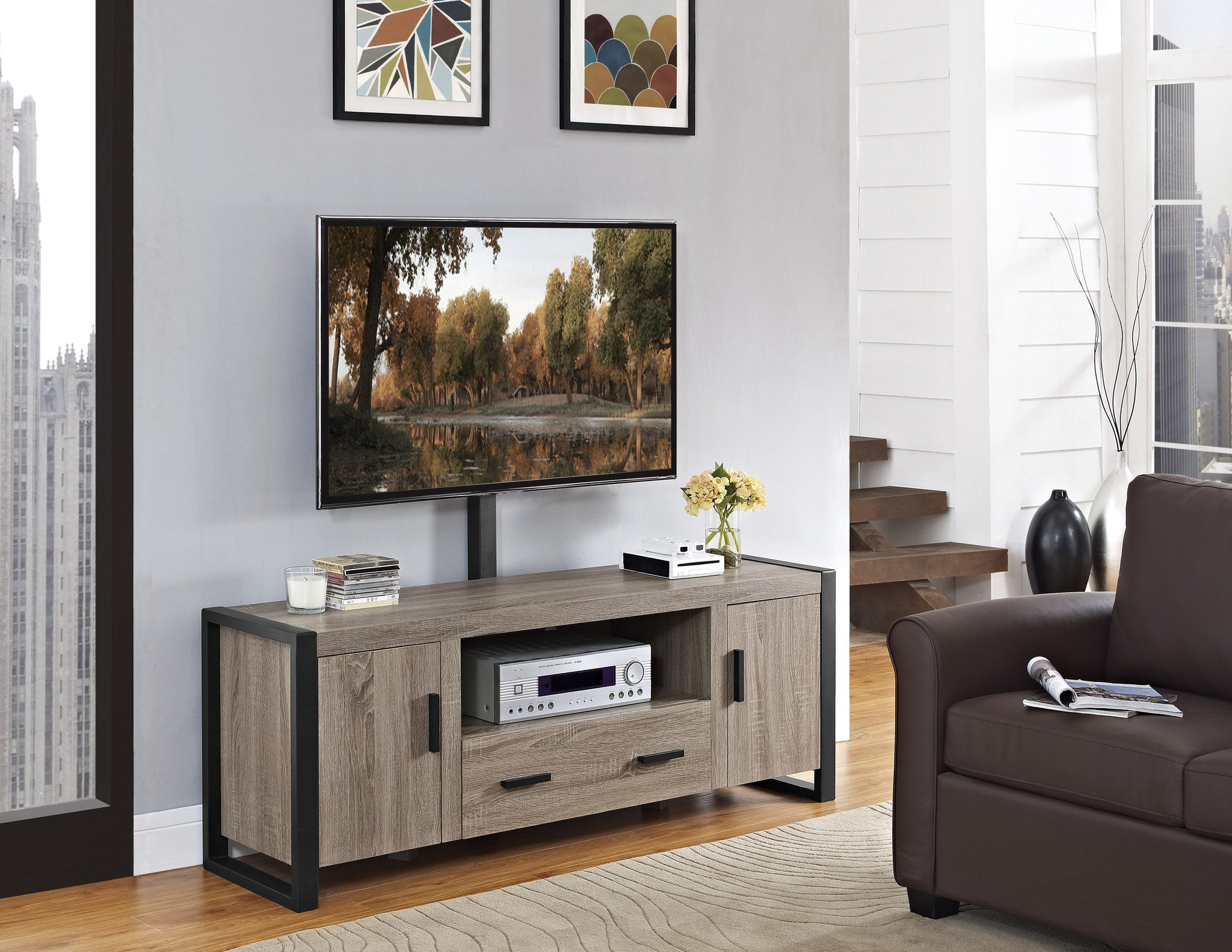 within brown home stand your polished entertainment to decor interior mount with drawer furniture three ultimate square center tv ideas glass shelf drawers and you fabulous give wooden the