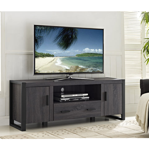 "60"" Charcoal Grey Modern Wood TV Stand"