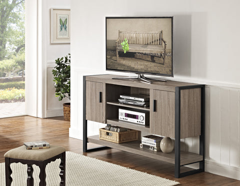 "Driftwood & Steel 60"" Modern Bedroom Height TV Stand"