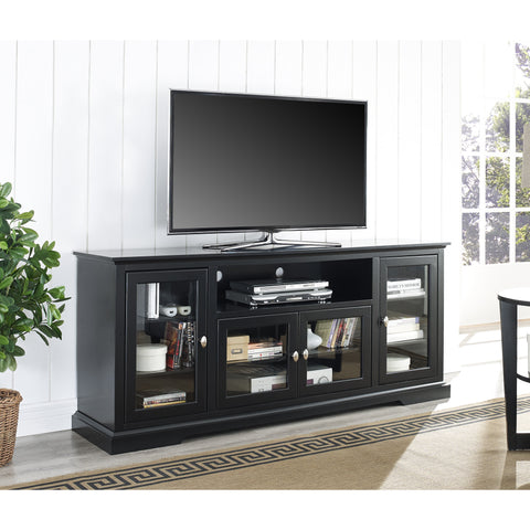 Elegant Black Extra Tall TV Stand Console with Glass Doors
