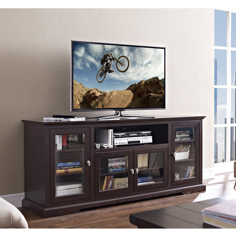 Elegant Espresso Extra Tall TV Stand Console with Glass Doors