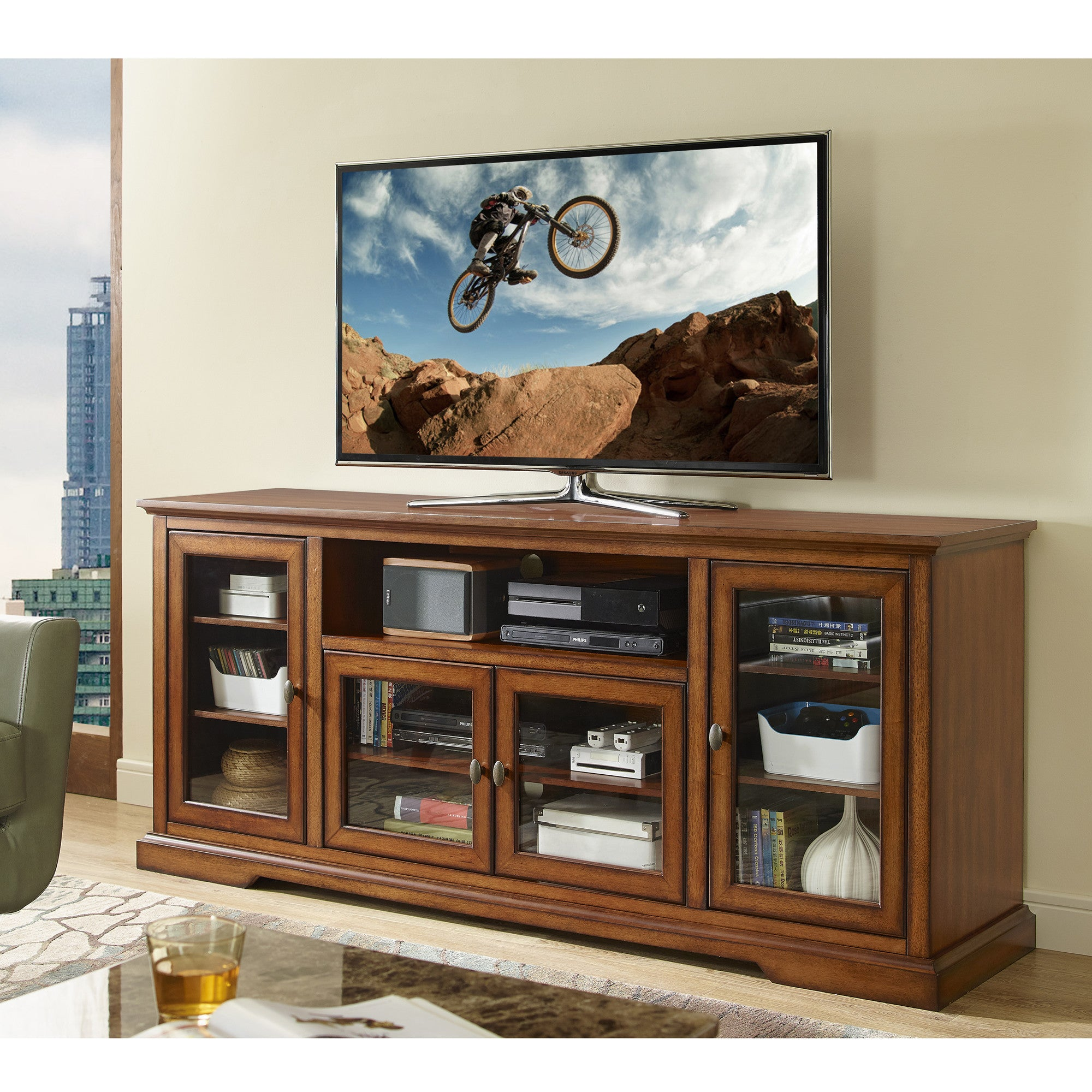 Contemporary Rustic Brown Extra Tall TV Stand Console with Glass Doors