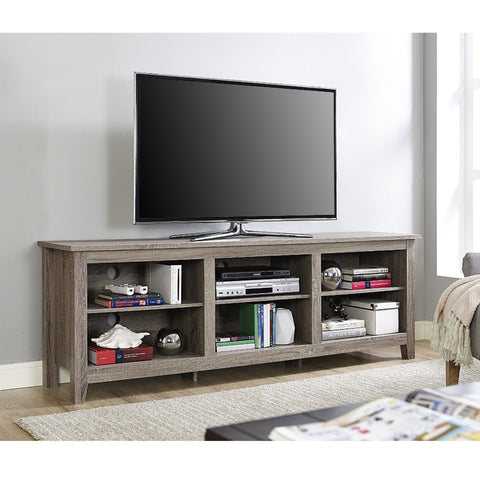 "70"" Modern Open Concept TV Stand in Driftwood Finish"