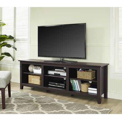 "70"" Modern Open Concept TV Stand in Espresso Finish"