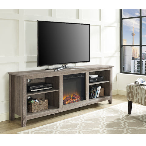 "70"" Driftwood TV Stand with Integrated Electric Fireplace"