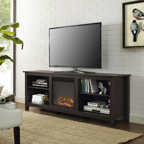 "70"" Espresso TV Stand with Integrated Electric Fireplace"
