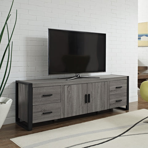 "Contemporary 71"" Ash Grey TV Stand Console"