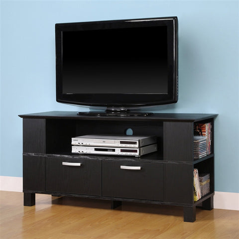 Columbus Collection Black Wood Stand with Front & Side Storage