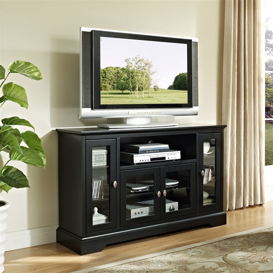 Highboy Modern Black Flat Screen TV Stand with Glass Doors