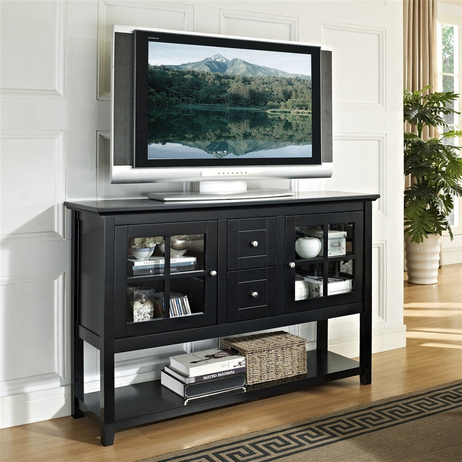"52"" Highboy Modern Black TV Stand with Glass Doors"