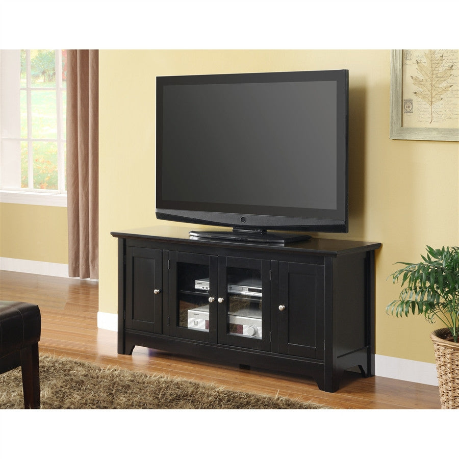 "52"" Black Solid Wood TV Stand with Four Doors"