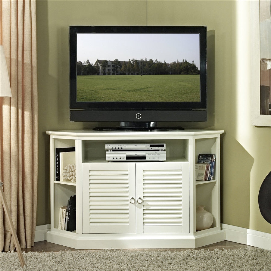 "52"" Modern White Corner TV Stand with Cottage Style Doors"